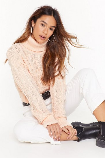 Soft pink Can't Believe Knit Cable Knit Sweater