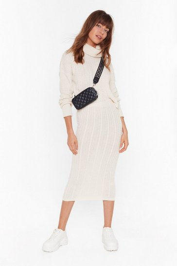Cream Get Knit Together Babe Midi Skirt