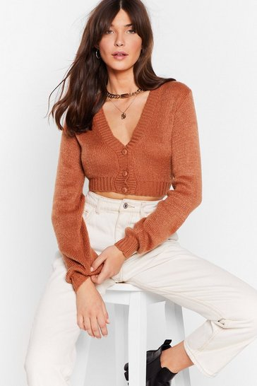 Womens Rust Crop Me Oh Cropped Cardigan