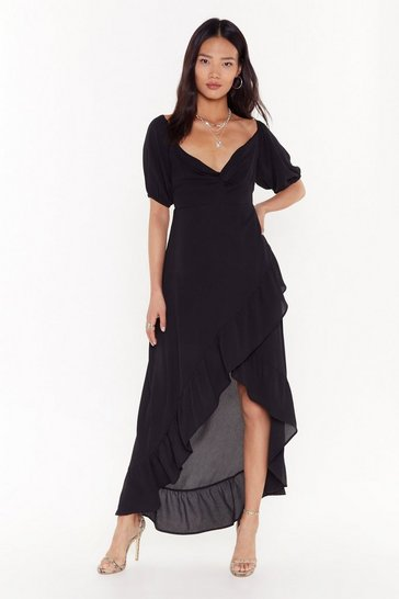 Womens Black Frill the Morning Comes Ruffle Midi Dress