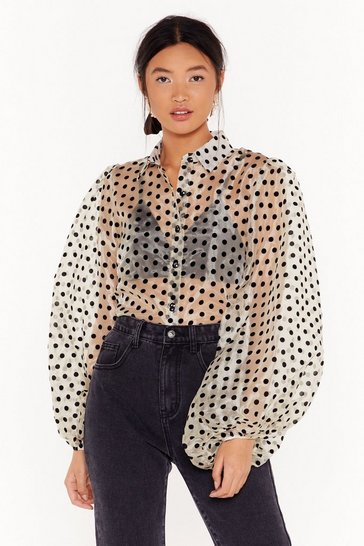 Champagne Spot Enough Drama Organza Blouse