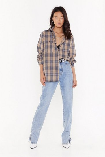 Womens Camel Big Check Energy Oversized Shirt