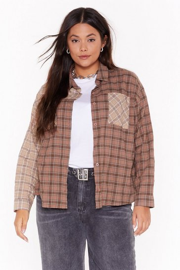 Brown Not Gotta Patch Plus Check Shirt