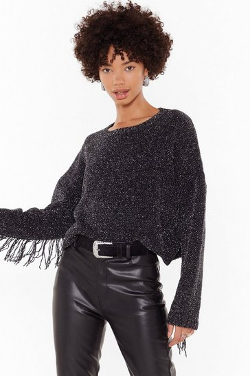 Black You Festive Thing Cropped Fringed Sweater