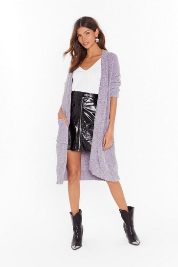 Womens Lilac Waited a Long Longline Chenille Knit Cardigan