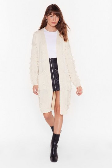Womens Cream Bobble Pom Pom Cardigan