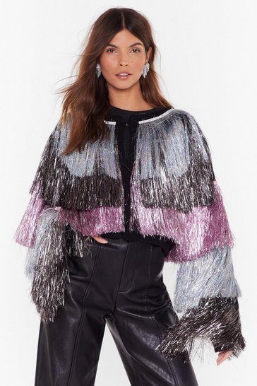 Womens Black Party Crasher Multicoloured Fringed Cropped Jacket