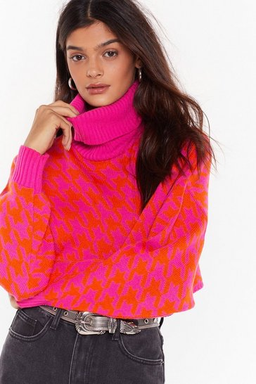 Womens Pink Lost and Houndstooth Turtleneck Cropped Sweater