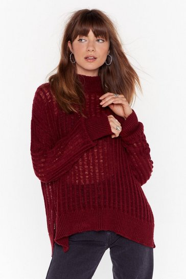 Womens Burgundy Climb the Ladder Knitted High Neck Sweater