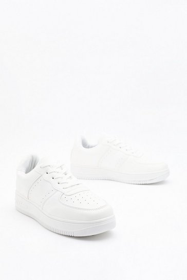 Womens White The Simple Life Faux Leather Lace-Up Sneakers