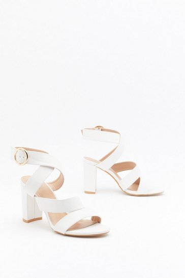 Womens White That's a Wrap Faux Leather Strappy Sandals