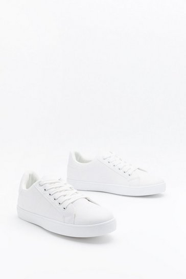 Womens White Run Your Mouth Faux Leather Trainers