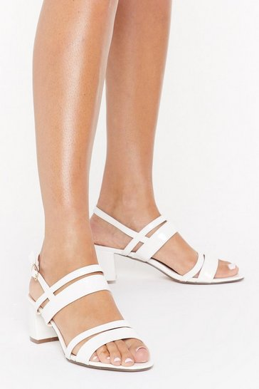 Womens White Oh Strappy Days Faux Leather Sandals