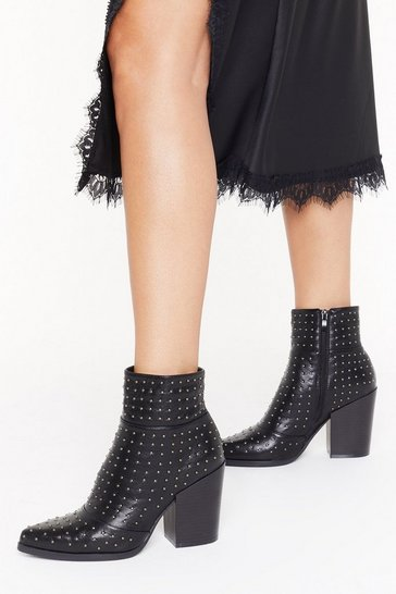 Womens Black Stud for Nothing Heeled Boots