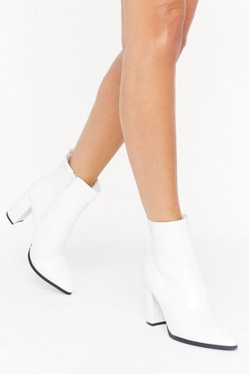 Womens White Step Outta Line Faux Leather Boots