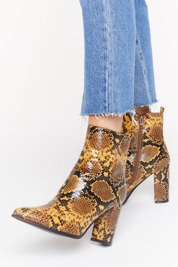 Womens Yellow We're in Hiss Together Faux Leather Snake Boots