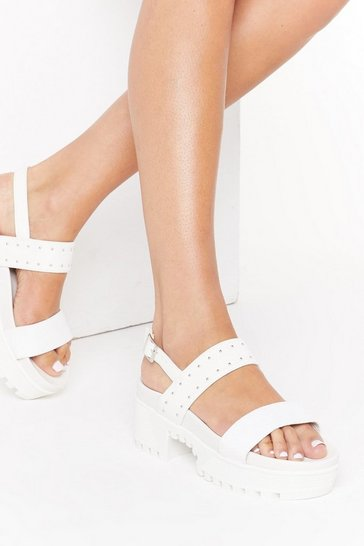 Womens White Pin You Down Studded Chunky Sandal