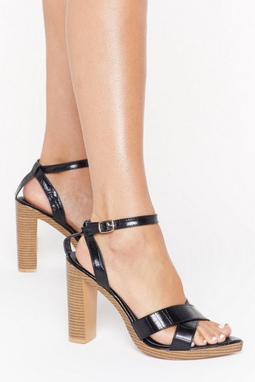 Black Point of Interest Croc Block Heels