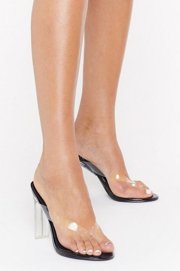 Womens Black See Right Through Perspex Thong Heels