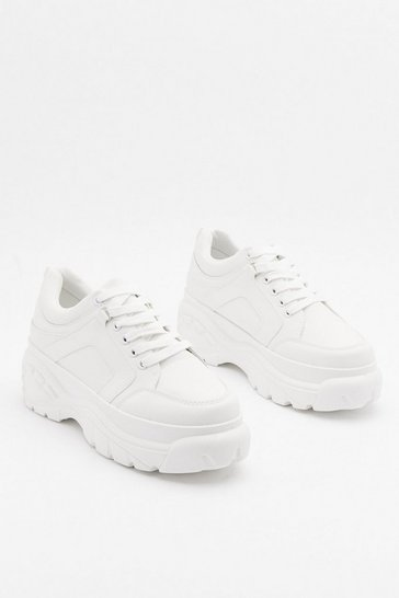 Womens White The Lace is On Platform Sneakers