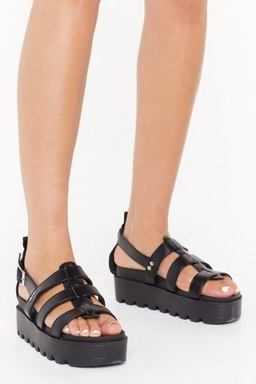 Womens Black Strappy Being Me Faux Leather Platform Sandals
