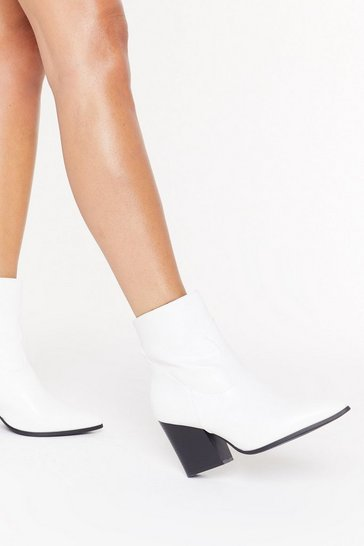 Womens White On Your West Behaviour Faux Leather Boots