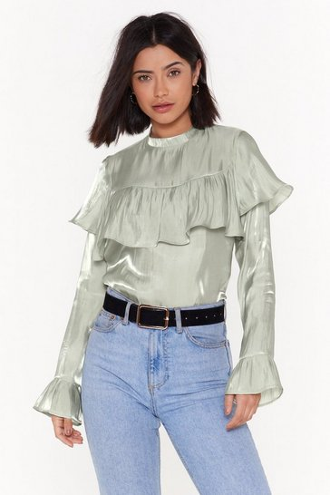 Womens Sage We Frill Show You High Neck Satin Blouse