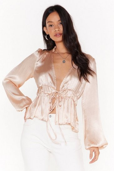 Womens Nude Satin Sheets Tie Blouse