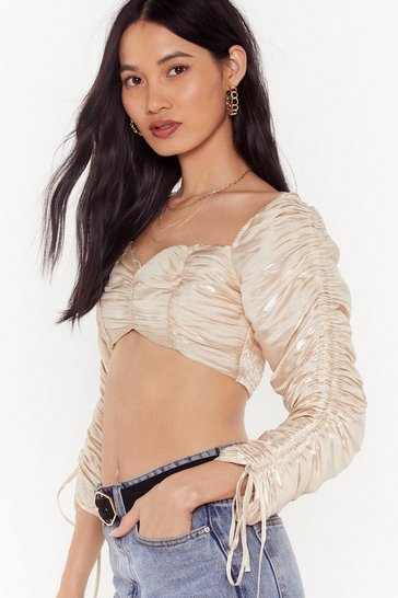 Womens Champagne Oh Ruché Metallic Cropped Blouse