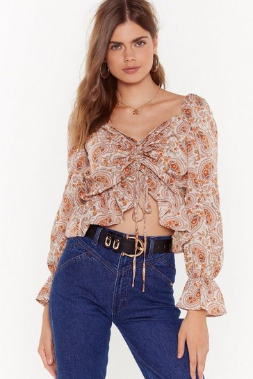 Womens Mink Tie You Down Paisley Cropped Blouse