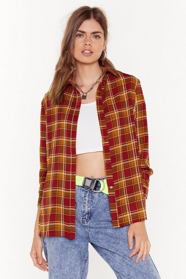 Red Checked Out of This Conversation Oversized Shirt