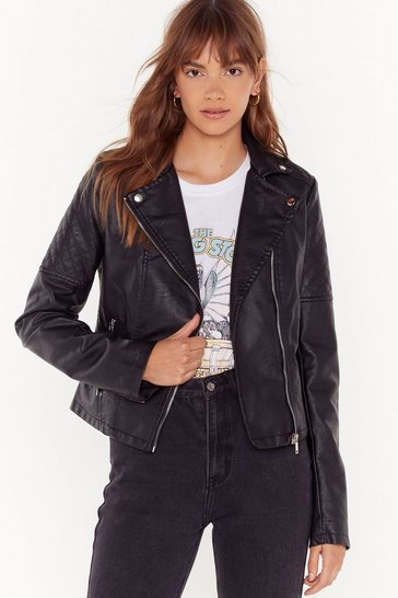 Womens Black Quilt While You're Ahead Faux Leather Moto Jacket