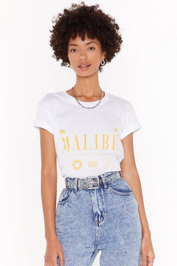 Womens White The Skys More Blue in Malibu Graphic Tee