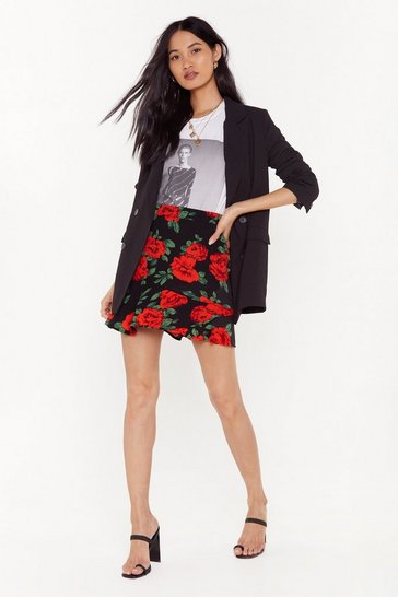 Black Hit 'Em With Your Best Rose Floral Mini Skirt