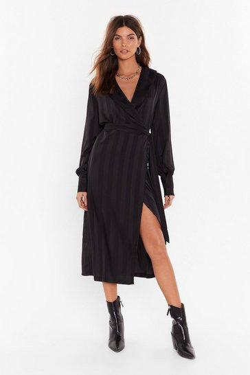 Womens Black Stripe Your Way Satin Midi Dress