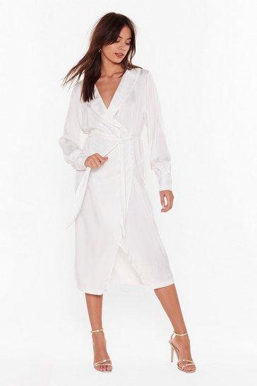 Ivory Stripe Your Way Satin Midi Dress