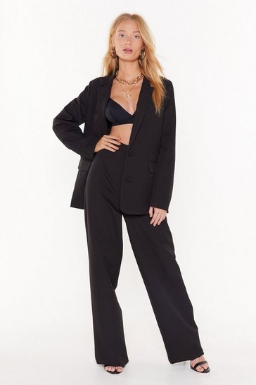 Womens Black Tailor Isn't an Option Wide-Leg Pants