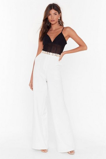 Womens White Tailor Isn't an Option Wide-Leg Pants