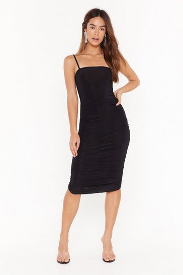 Black Sorry to Ruche You Slinky Midi Dress
