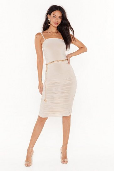 Ecru Sorry to Ruche You Slinky Midi Dress