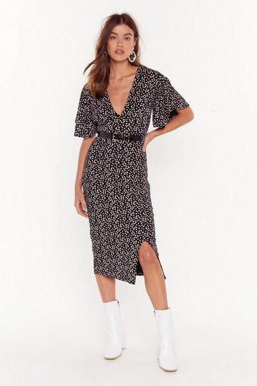 Black Floral Deep V Neck Midi Dress