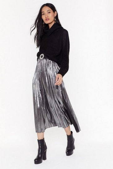 Womens Silver Space Age Babe Metallic Midi Skirt