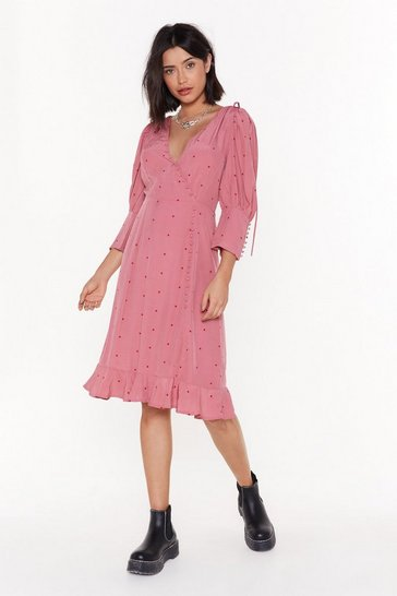 Womens Pink Do Spot Disturb Wrap Midi Dress