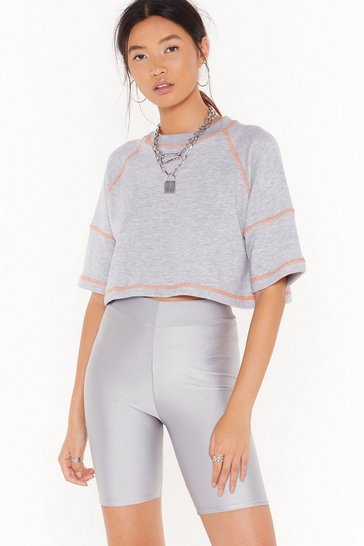 Womens Grey marl What's the Stitch-uation Relaxed Cropped Tee