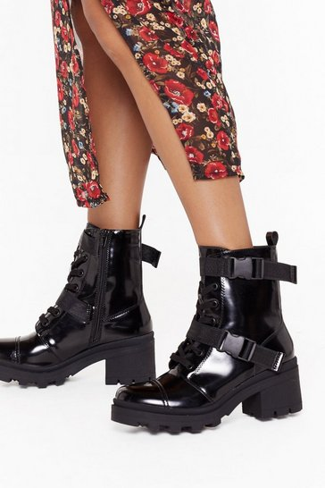 Womens Black Box PU Buckle Strap Biker Boots