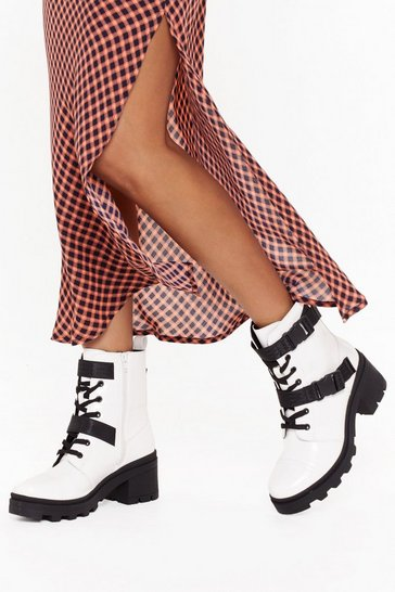 Womens White Box PU Buckle Strap Biker Boots