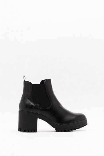 Womens Black PU Croc Chelsea Block Heel Boot