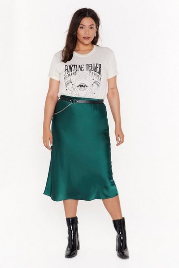 Womens Emerald Just My Type Plus Satin Midi Skirt