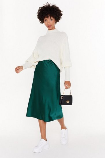 Emerald Just My Type Satin Midi Skirt