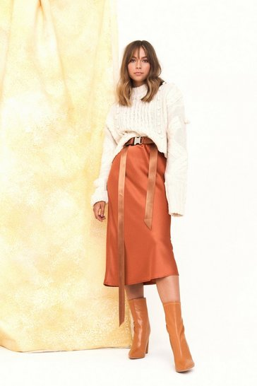 Womens Toffee Just My Type Satin Midi Skirt